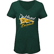Gen2 Youth Girls' Oakland Athletics Green Fly the Flag V-Neck T-Shirt