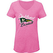 Gen2 Youth Girls' Oakland Athletics Pink Fly the Flag V-Neck T-Shirt