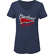 Gen2 Youth Girls' Cleveland Indians Navy Fly the Flag V-Neck T-Shirt
