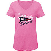 Gen2 Youth Girls' Washington Nationals Pink Fly the Flag V-Neck T-Shirt