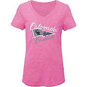 Gen2 Youth Girls' Colorado Rockies Pink Fly the Flag V-Neck T-Shirt
