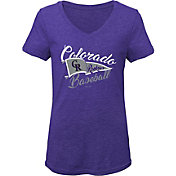 Gen2 Youth Girls' Colorado Rockies Purple Fly the Flag V-Neck T-Shirt