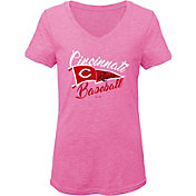 Gen2 Youth Girls' Cincinnati Reds Pink Fly the Flag V-Neck T-Shirt