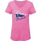 Gen2 Youth Girls' Texas Rangers Pink Fly the Flag V-Neck T-Shirt