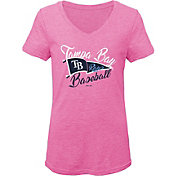 Gen2 Youth Girls' Tampa Bay Rays Pink Fly the Flag V-Neck T-Shirt