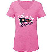 Gen2 Youth Girls' Houston Astros Pink Fly the Flag V-Neck T-Shirt