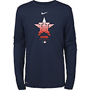 Nike Youth Houston Astros Navy Large Logo Legend Dri-FIT Long Sleeve T-Shirt