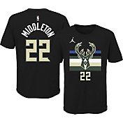 Jordan Youth Milwaukee Bucks Khris Middleton #22 Statement Black T-Shirt