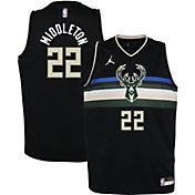 Jordan Youth Milwaukee Bucks Khris Middleton #22 2020-21 Dri-FIT Statement Swingman Black Jersey