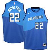 Nike Youth 2020-21 City Edition Milwaukee Bucks Khris Middleton #22 Dri-FIT Swingman Jersey
