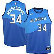 Nike Youth 2020-21 City Edition Milwaukee Bucks Giannis Antetokounmpo #34 Dri-FIT Swingman Jersey
