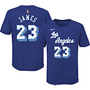 Nike Youth Los Angeles Lakers LeBron James #23 Blue Hardwood Classic T-Shirt