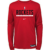 Nike Youth Houston Rockets Practice Performance Long Sleeve T-Shirt
