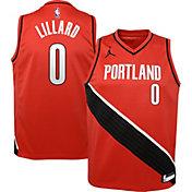 Jordan Youth Portland Trail Blazers Damian Lillard #0 Red 2020-21 Dri-FIT Statement Swingman Jersey