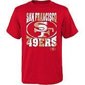 NFL Team Apparel Youth San Francisco 49ers Logo Stripe Red T-Shirt