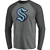 NHL Men's Seattle Kraken Distressed-Print Grey Logo Long Sleeve T-Shirt