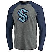 NHL Men's Seattle Kraken Distressed-Print Navy Logo Long Sleeve Shirt