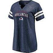 NHL Women's Colorado Avalanche Crash The Net Navy V-Neck T-Shirt