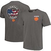 Image One Men's Clemson Tigers Grey Sketch USA T-Shirt