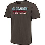 Image One Men's Clemson Tigers Grey Vintage Flag T-Shirt
