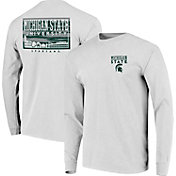 Image One Men's Michigan State Spartans Campus Sky Long Sleeve White T-Shirt