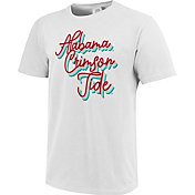 Image One Women's Alabama Crimson Tide Rainbow Script White T-Shirt