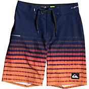 Quad Seven Little Boys Blue Red Orange Wavy Pattern Swimwear Trunks 2T-6