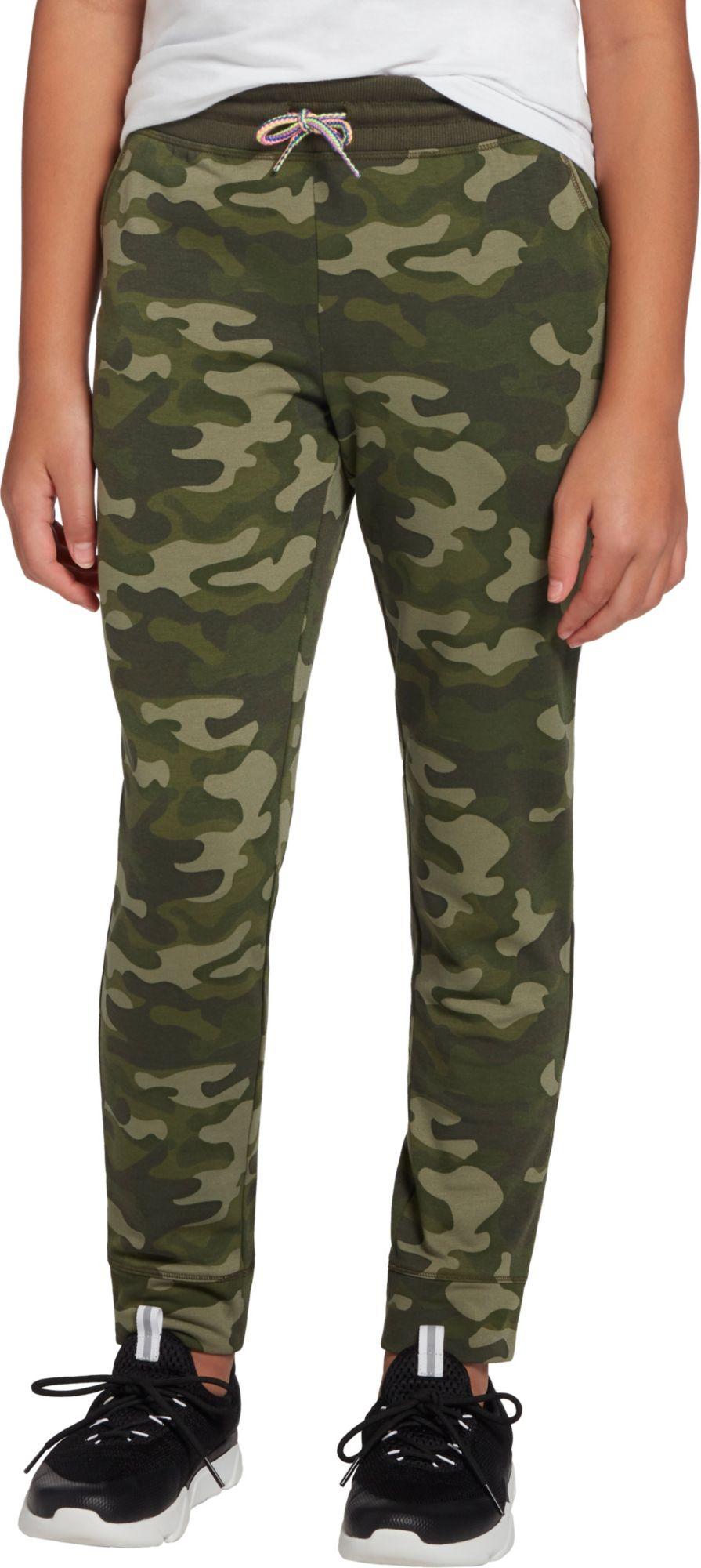 DSG Girls' Fleece Jogger Pants, XXS, Camo/forest Night