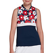 DSG Girls' Floral Mock Neck Sleeveless Polo Shirt