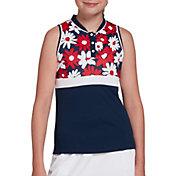 DSG Girls' Floral Mock Neck Sleeveless Polo Shirt