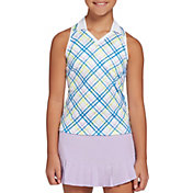 DSG Girls' Plaid Print Sleeveless Golf Polo