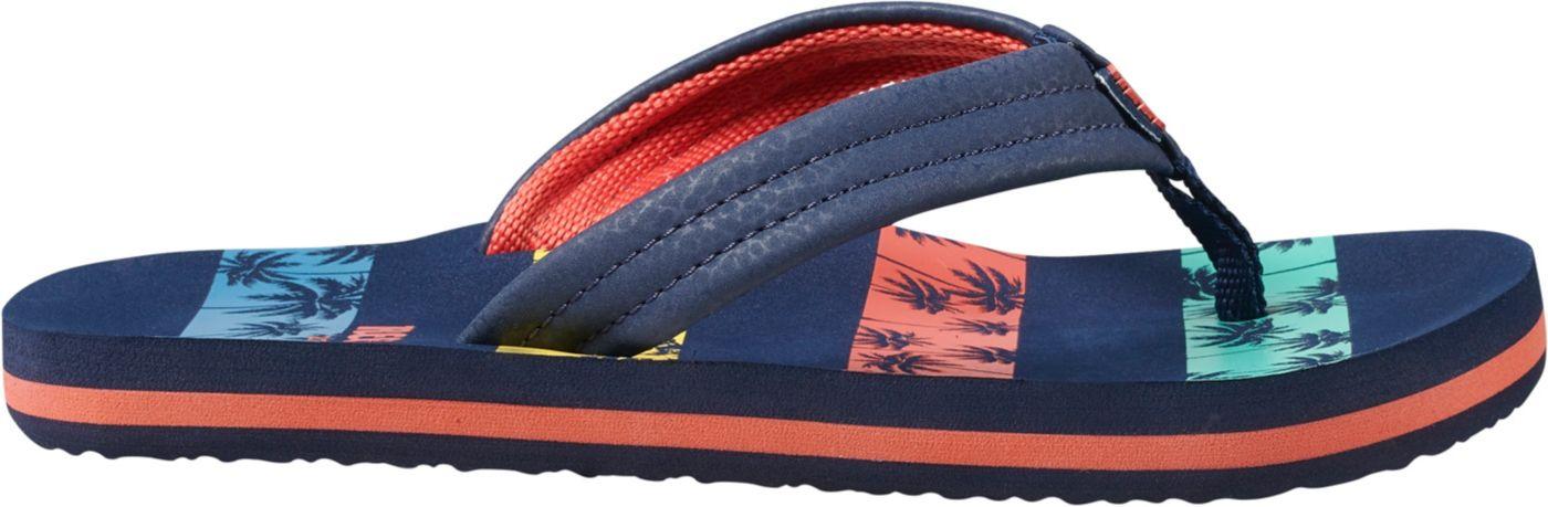 Reef Kids' Ahi Navy Palms Stripe Flip Flops