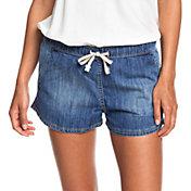 Roxy Women's Go To The Beach Elasticized Denim Shorts