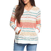 Roxy Women's Airport Vibes Striped Hooded Poncho Sweater