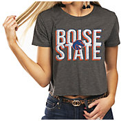 Gameday Couture Women's Boise State Broncos Grey Home Team Advantage Vintage Vibe Crop Top