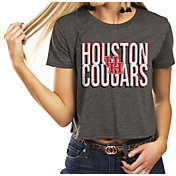 Gameday Couture Women's Houston Cougars Grey Home Team Advantage Vintage Vibe Crop Top