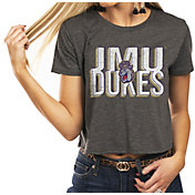 Gameday Couture Women's James Madison Dukes Grey Home Team Advantage Vintage Vibe Crop Top