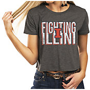 Gameday Couture Women's Illinois Fighting Illini Grey Home Team Advantage Vintage Vibe Crop Top