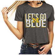 Gameday Couture Women's Michigan Wolverines Grey Home Team Advantage Vintage Vibe Crop Top