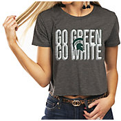 Gameday Couture Women's Michigan State Spartans Grey Home Team Advantage Vintage Vibe Crop Top