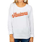 Gameday Couture Women's Miami Hurricanes Casually Cute French Terry Pullover White Sweatshirt