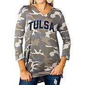 Gameday Couture Women's Tulsa Golden Hurricane Camo Hidden Treasures ¾ Sleeve Tunic Shirt