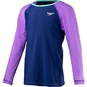 Speedo Girls' Long Sleeve Color Block Rash Guard