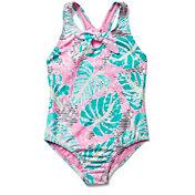 Speedo Girls' Print Tie Front Piece Swimsuit