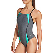 Speedo Women's Heather Splice Flipback One Piece Swimsuit