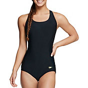 Speedo Women's Rib Illusion Splice One Piece Swimsuit