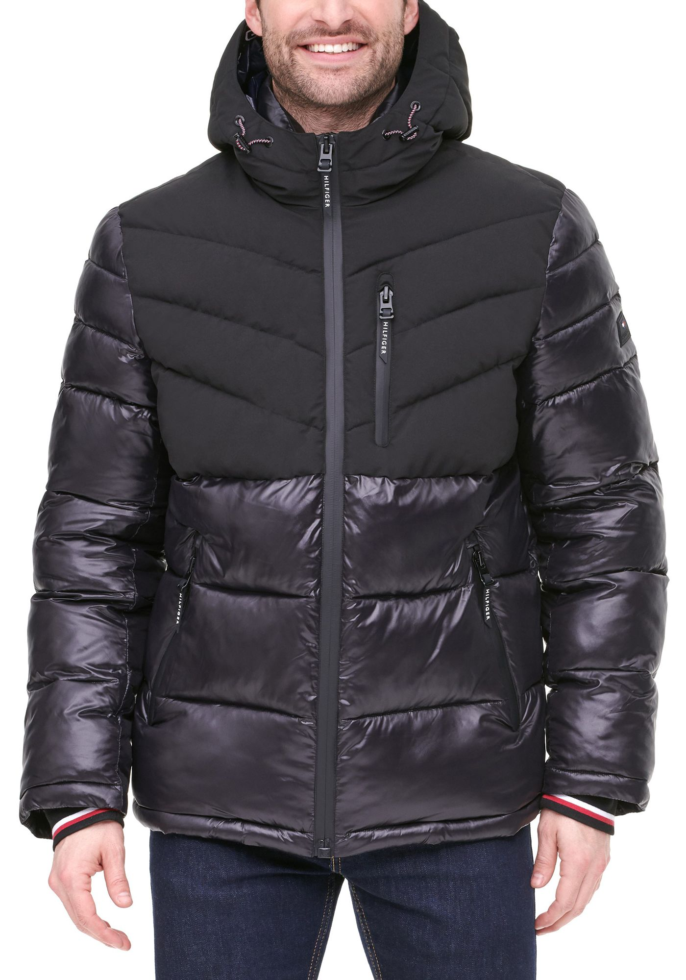 Tommy Hilfiger Men's Quilted Chevron Shiny and Matte Hooded Puffer Jacket