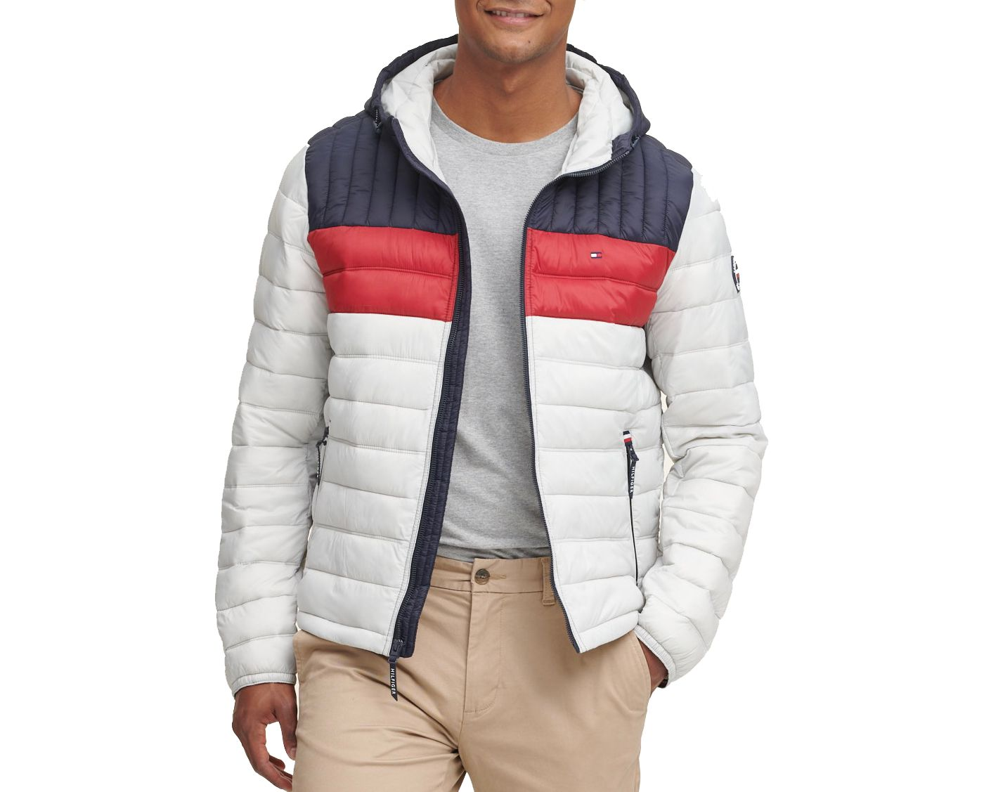 Tommy Hilfiger Men's Quilted Lightweight Colorblock Hooded Puffer Jacket