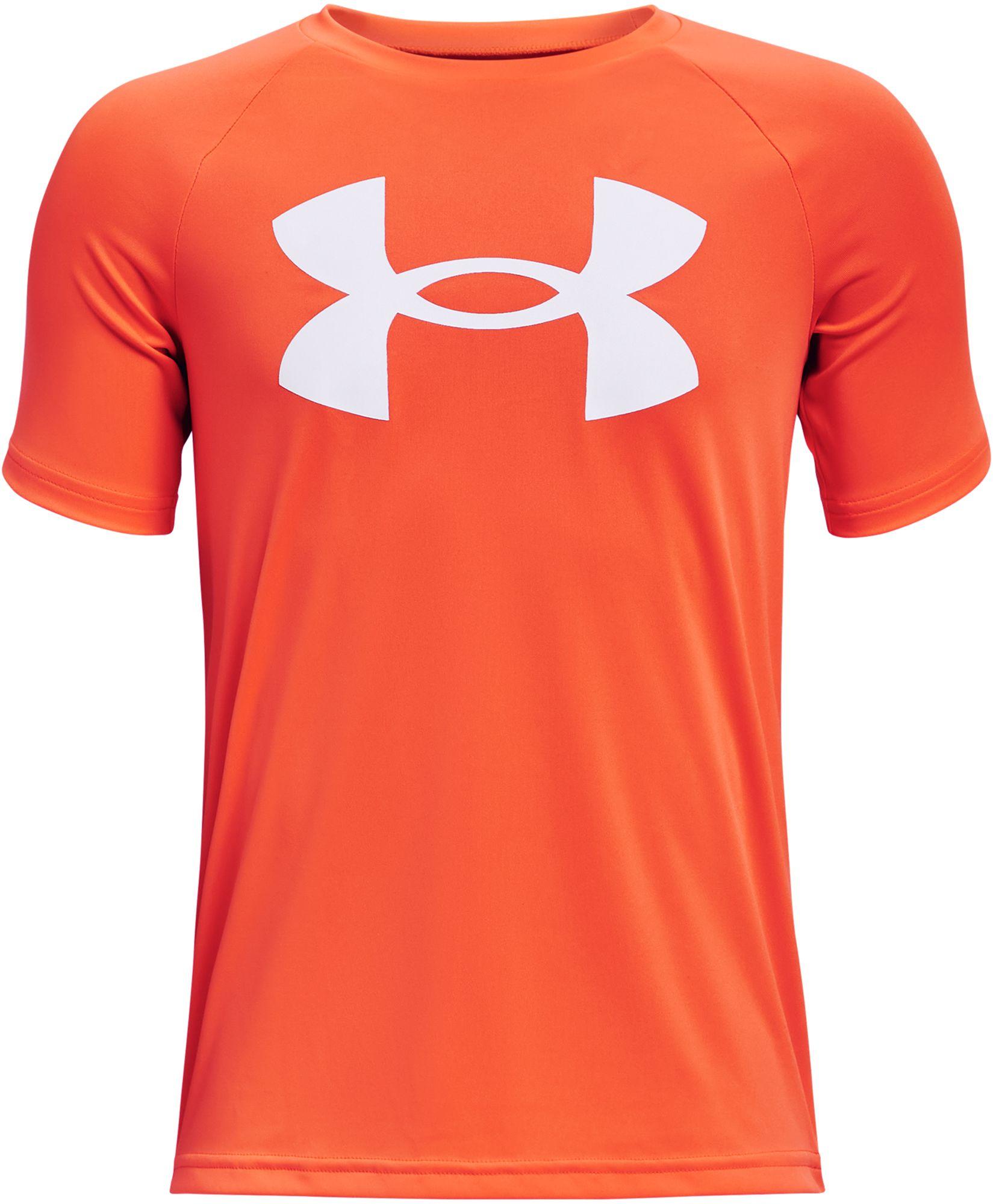 Under Armour Boys' Tech Big Logo T-Shirt, XS, Blaze Orange