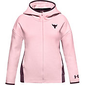 Under Armour Girls' Project Rock Charged Cotton Fleece Full-Zip Hoodie